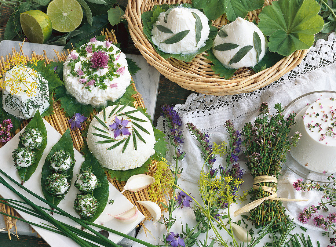 Still life with cream cheese and various herbs