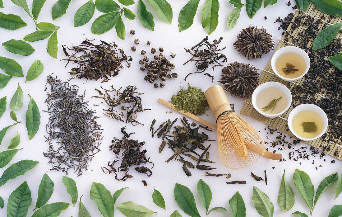 Different kinds of green tea from China, Japan and Taiwan