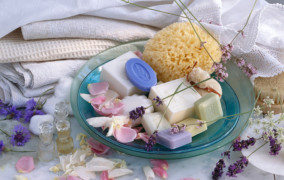 Wellness still life: various soaps, natural sponge, rose petals, lavender, scented oils