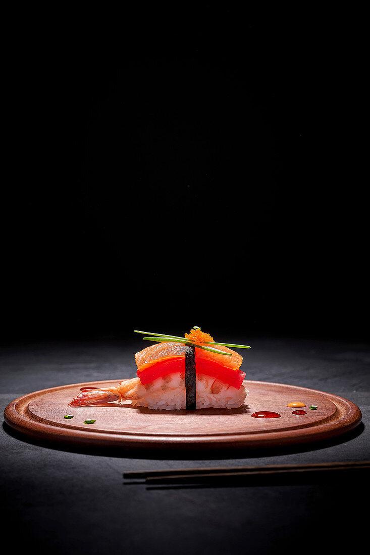 Nigiri sushi with salmon and prawn