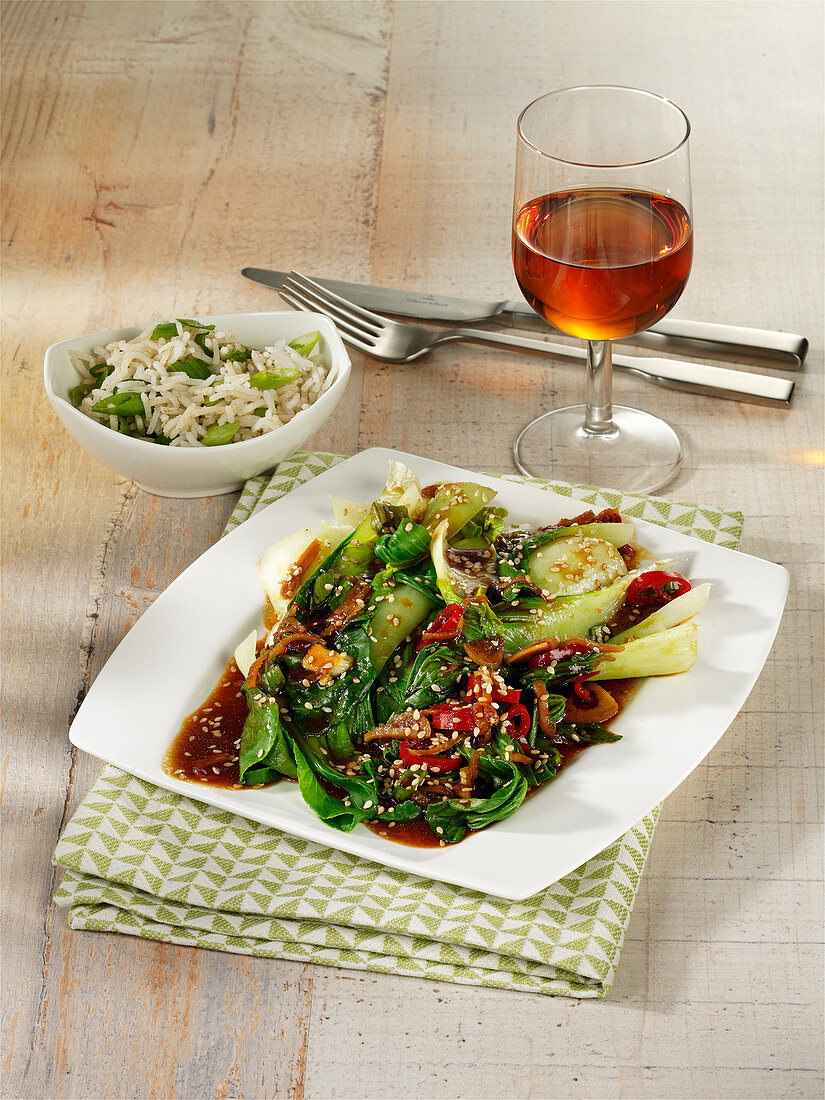 Steamed pak choi with chilli and sesame seeds
