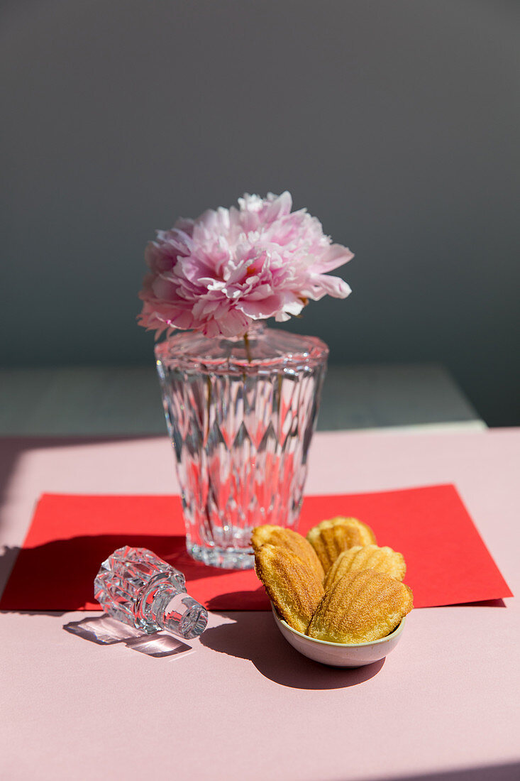 Madeleines and a vase with a peony