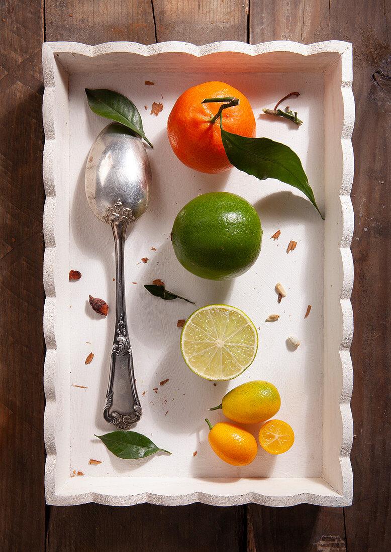 Tangerine, lime and kumquats
