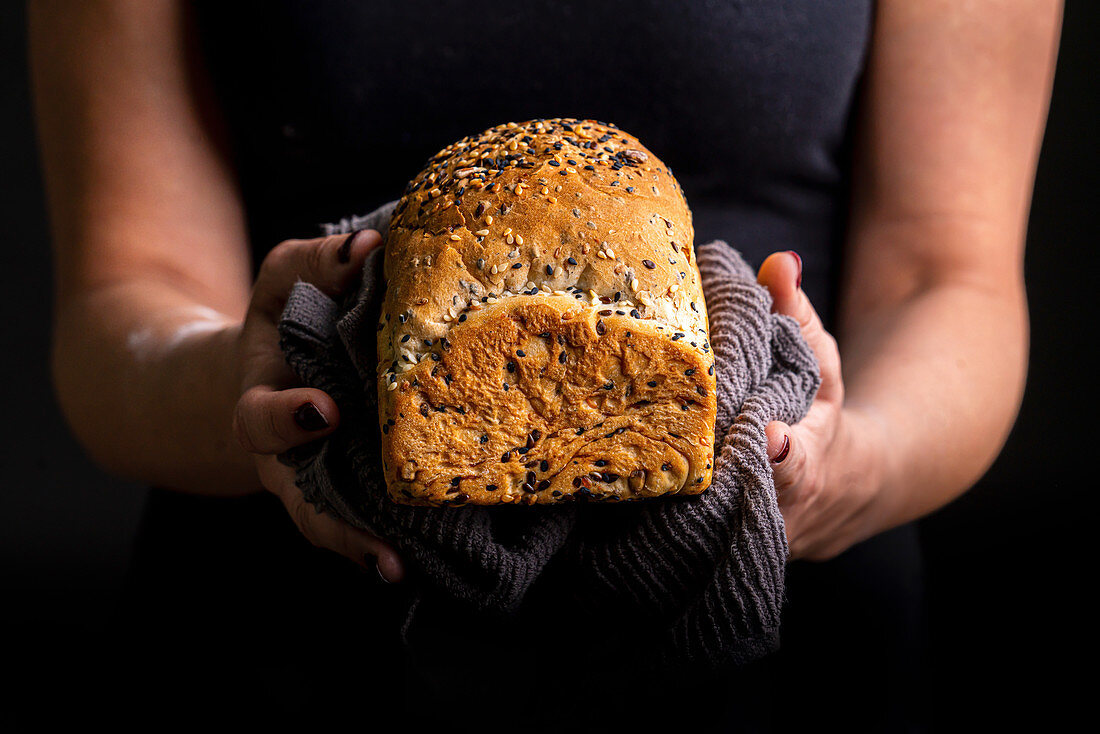 Wheat loaf with black and white sesame seeds