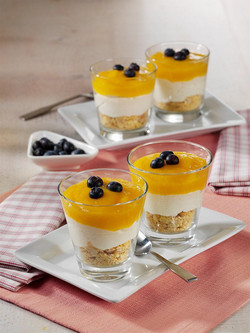 Mango cheesecake in a glass
