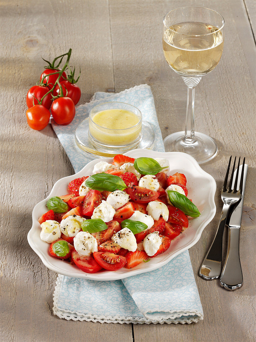 Strawberry and Tomato Salad with Buffalo Mozzarella