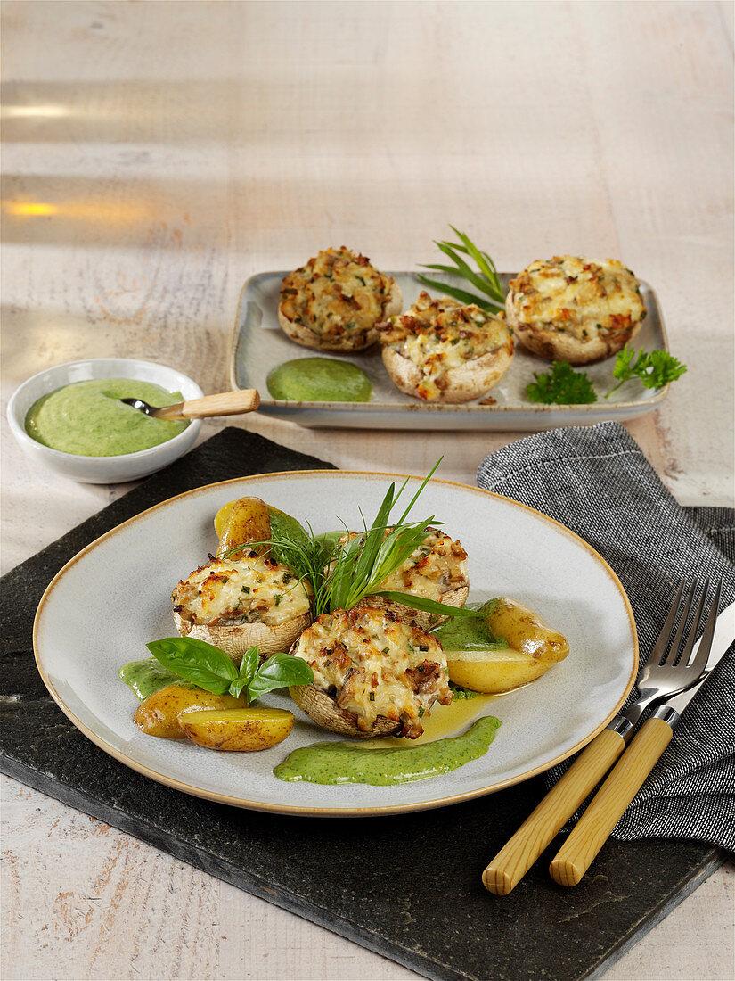 Gefüllte Frischkäse-Champignons aus dem Ofen mit grüner Sauce