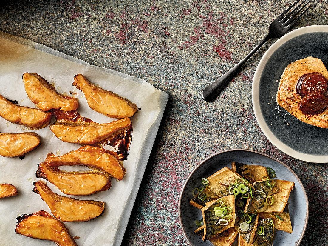 Izakaya snacks made with fish and miso