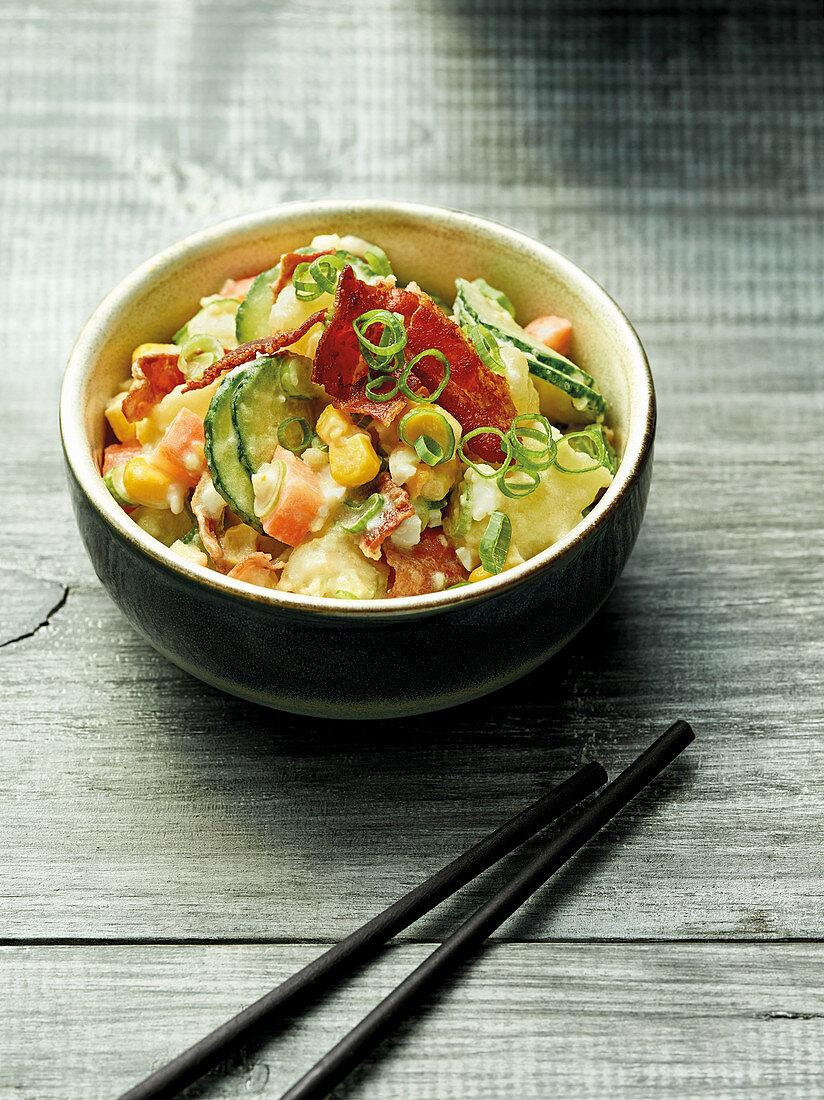 Poteto Sarada – Japanese potato salad with sweetcorn and bacon
