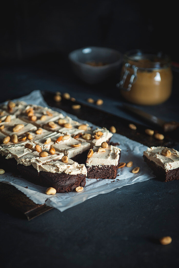 Chocolate Brownie with Penut Butter Frosting