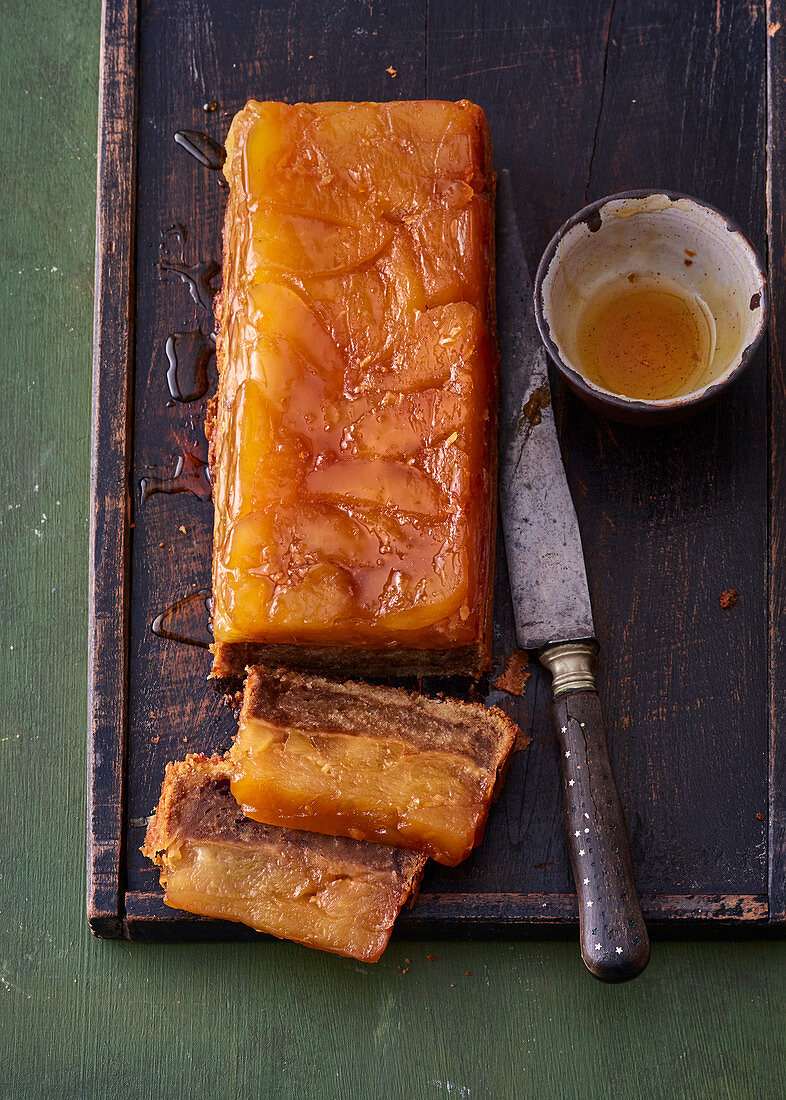 Upside down apple and ginger box cake