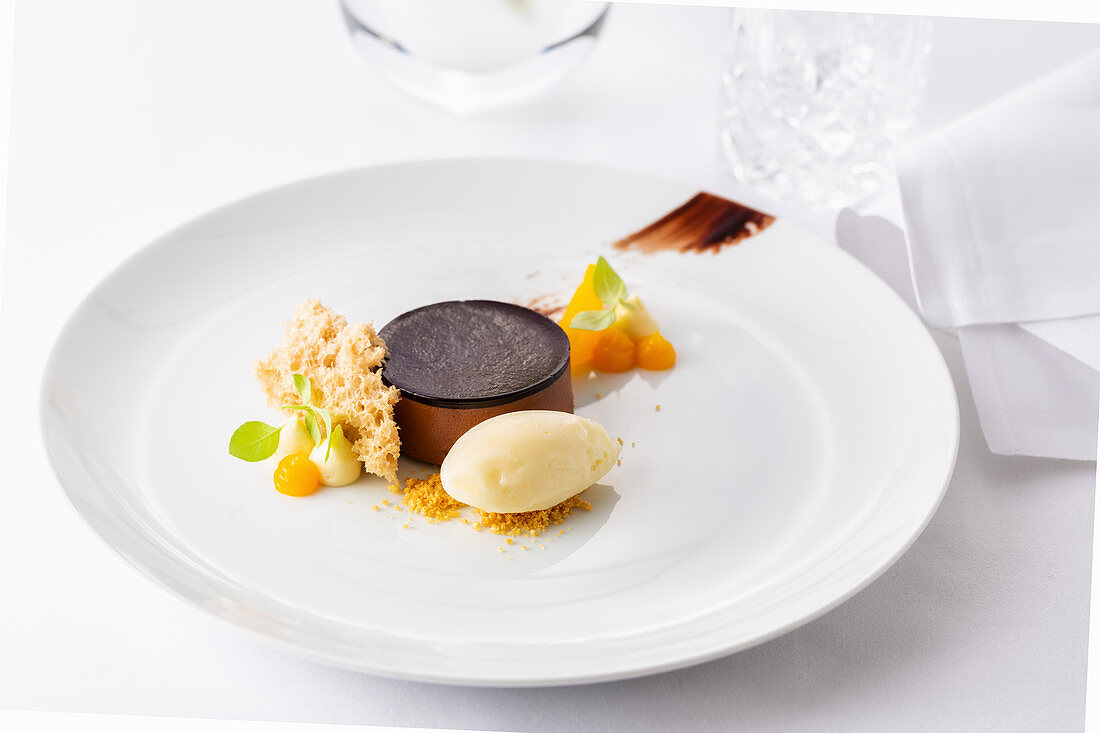 Chocolate dessert with vanilla ice cream