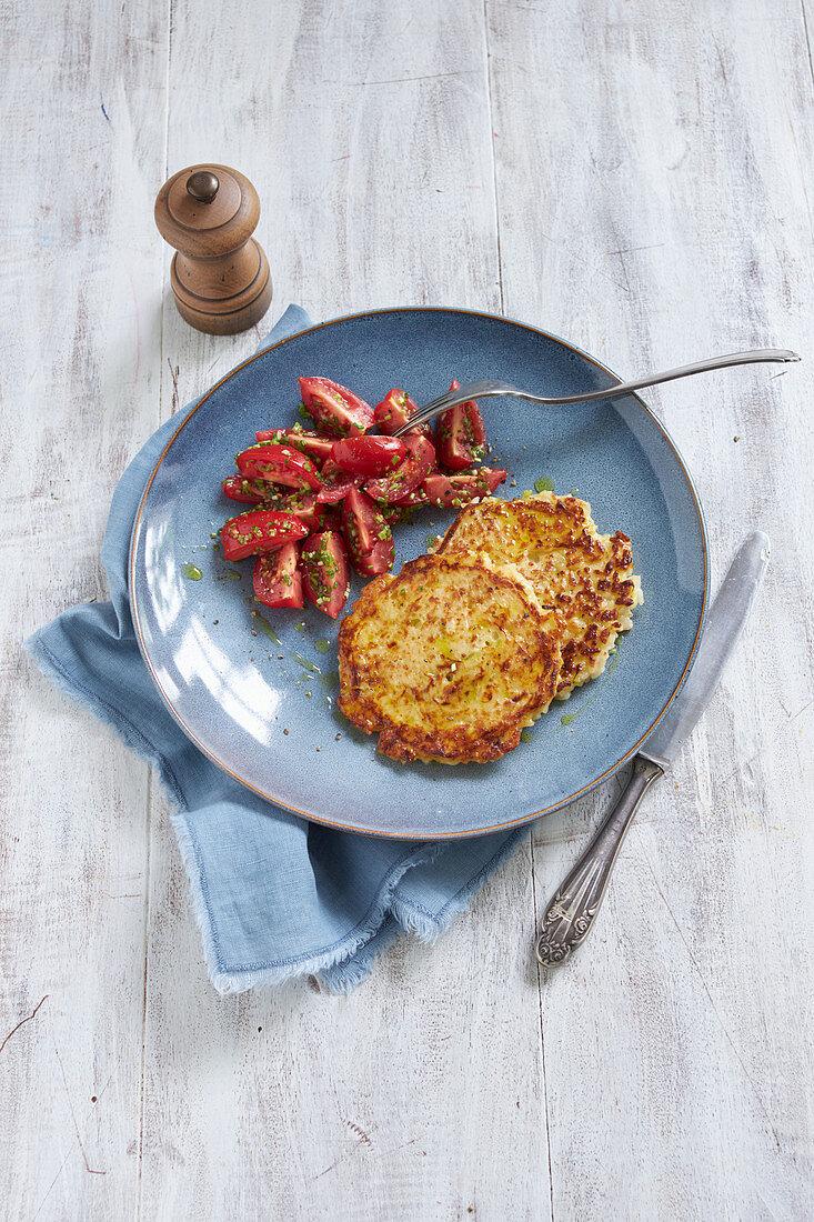 Rice pancakes with tomato salad