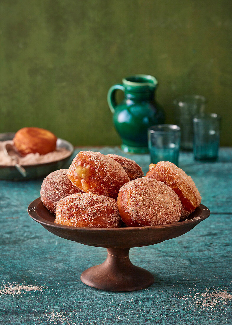 Apple fritter donuts with granulated sugar