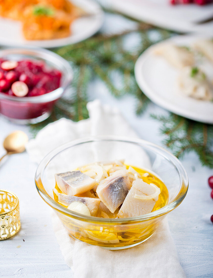 Herring with onion for Christmas