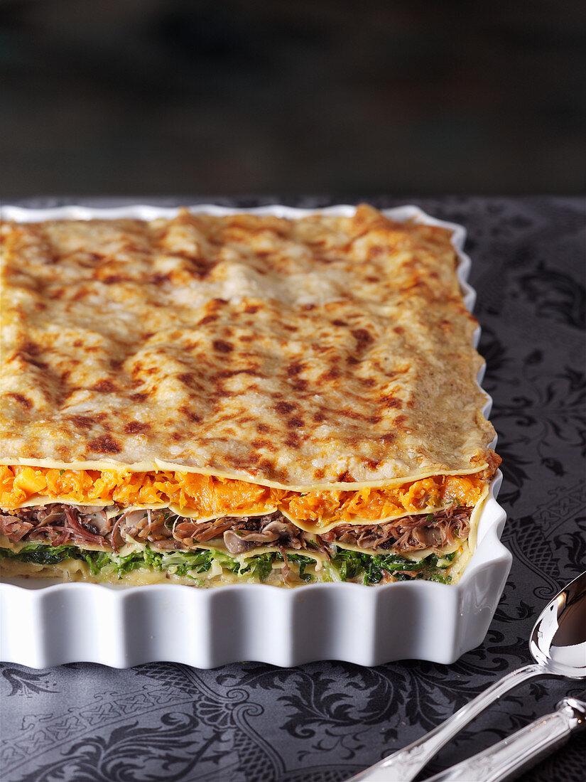 Duck and pumpkin lasagne