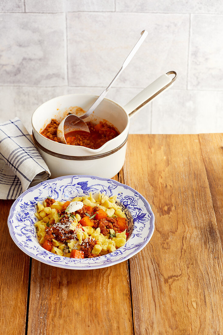 Spaetzle with pumpkin and minced meat ragout