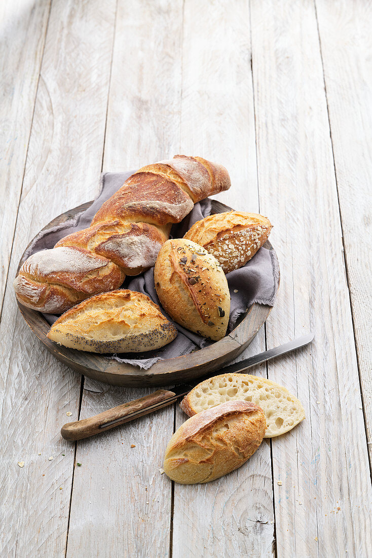 Homemade baguette and pointed rolls