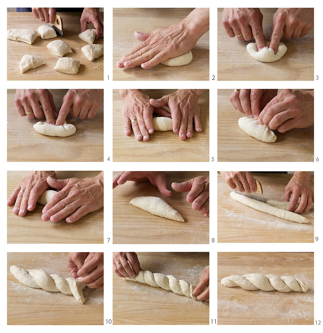Spitzbrötchen und Baguette aus Brotteig formen