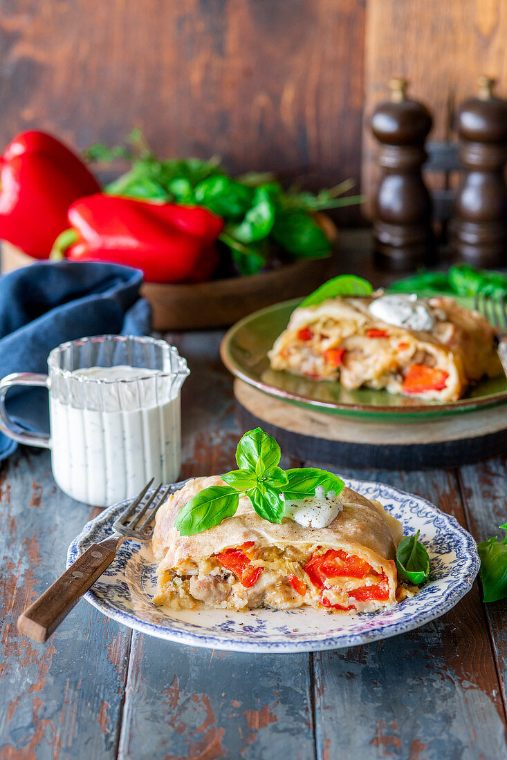 Red pepper and chicken strudel