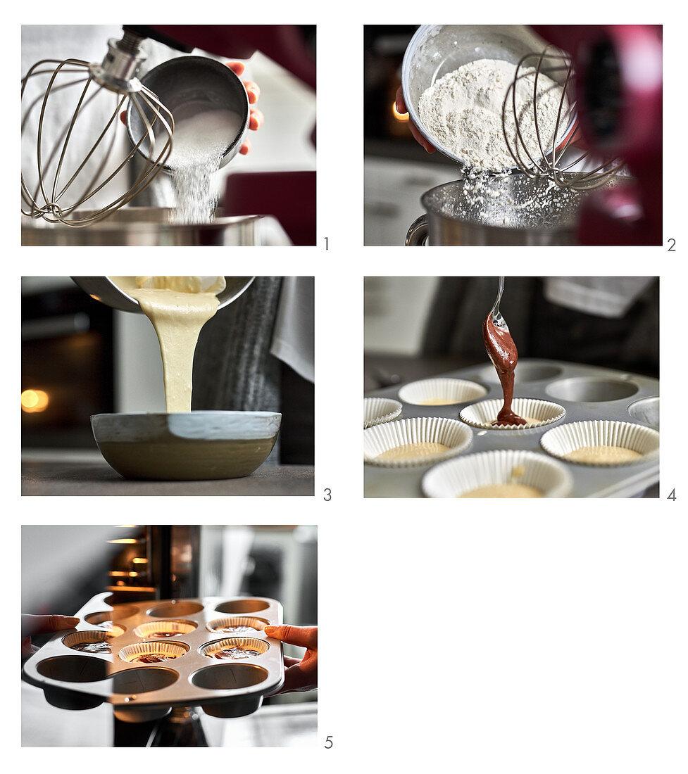 Baking vegan marble muffins