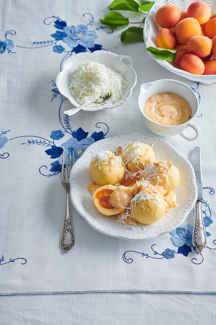 Apricot dumplings with apricot creamy sauce