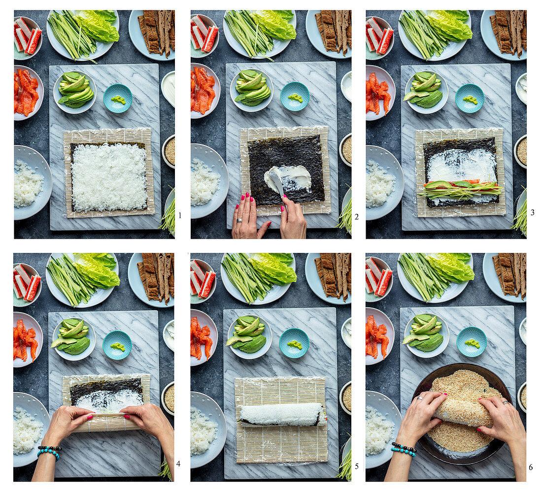 Making uramaki with salmon
