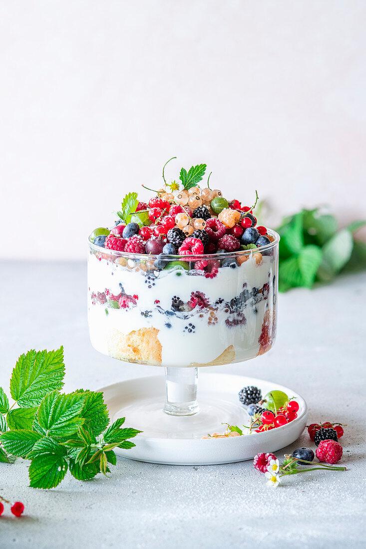 Berry yogurt trifle with vanilla sponge and yogurt cream