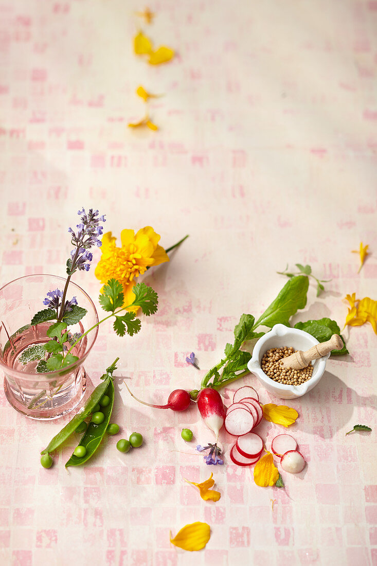 Pea pods, radishes and edible flowers