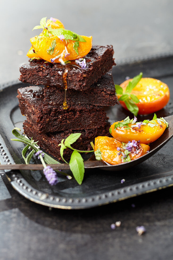 Vegan pecan brownies with caramelized apricots