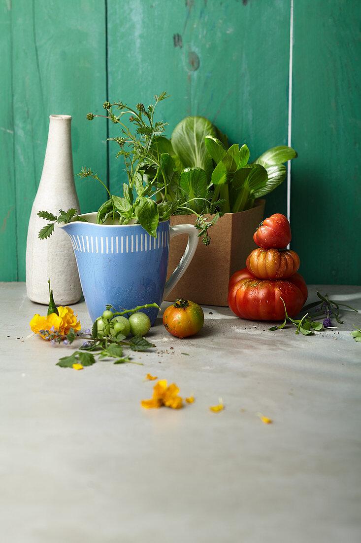 Verschiedene Tomatensorten und Kräuter