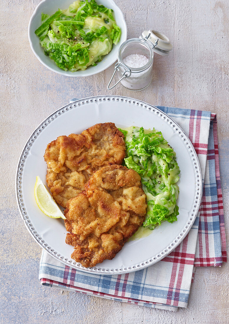 Jewish schnitzel with kale and potato mash