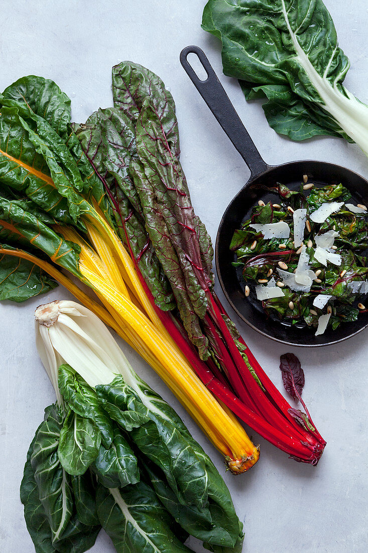 Swiss chard in different colors and chard in a pan