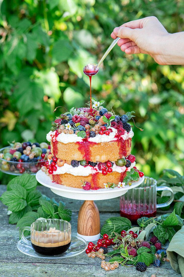 Berry cake in a garden