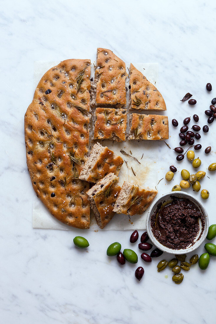 Olive focaccia and tapenade