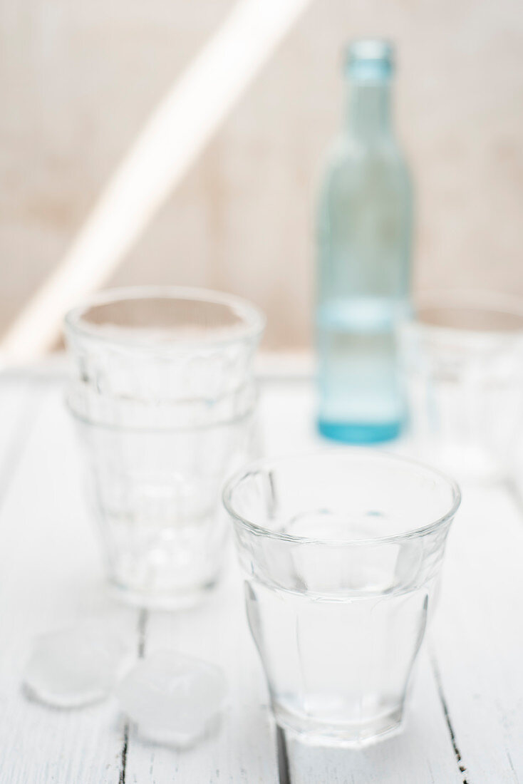 Fresh water in a glass with ice cubes