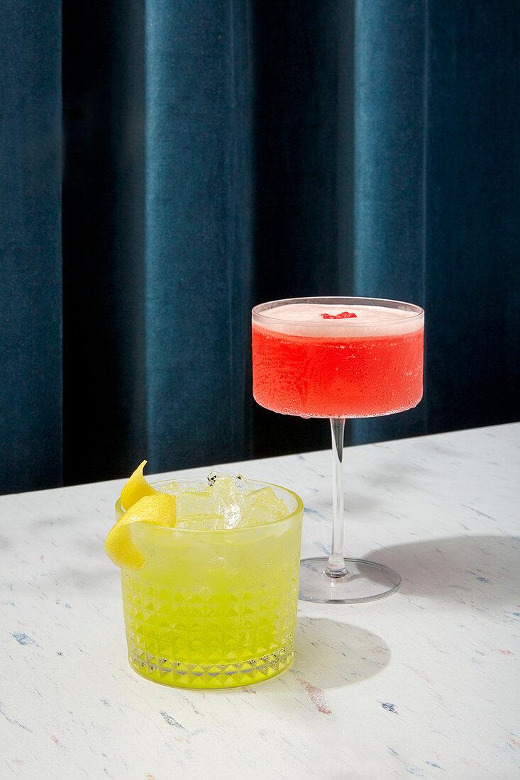 Martini cocktail and Limoncello