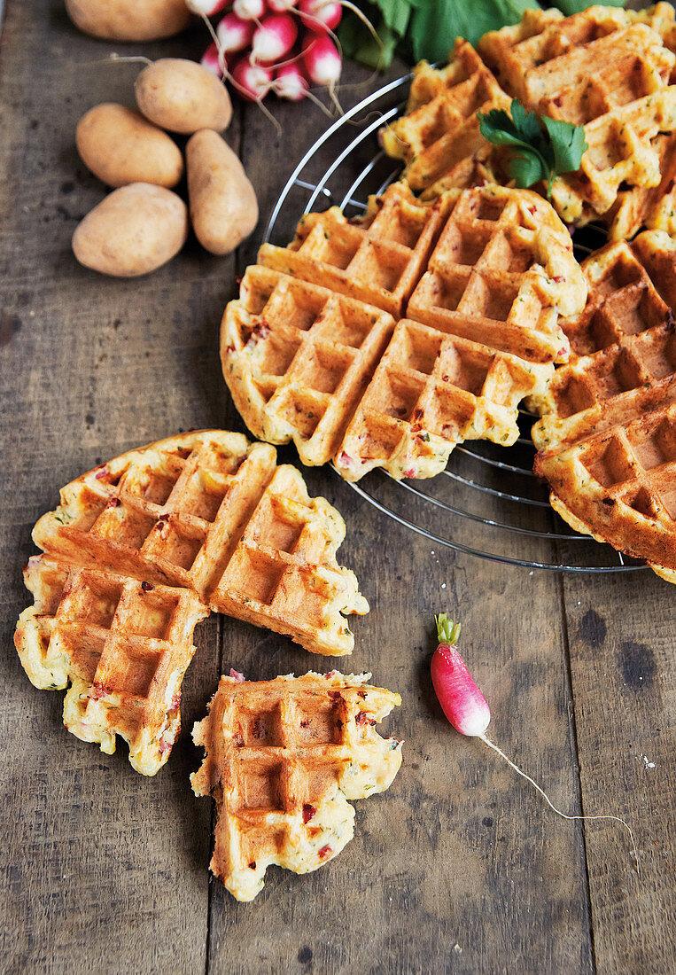 Savoury potato waffles with diced bacon