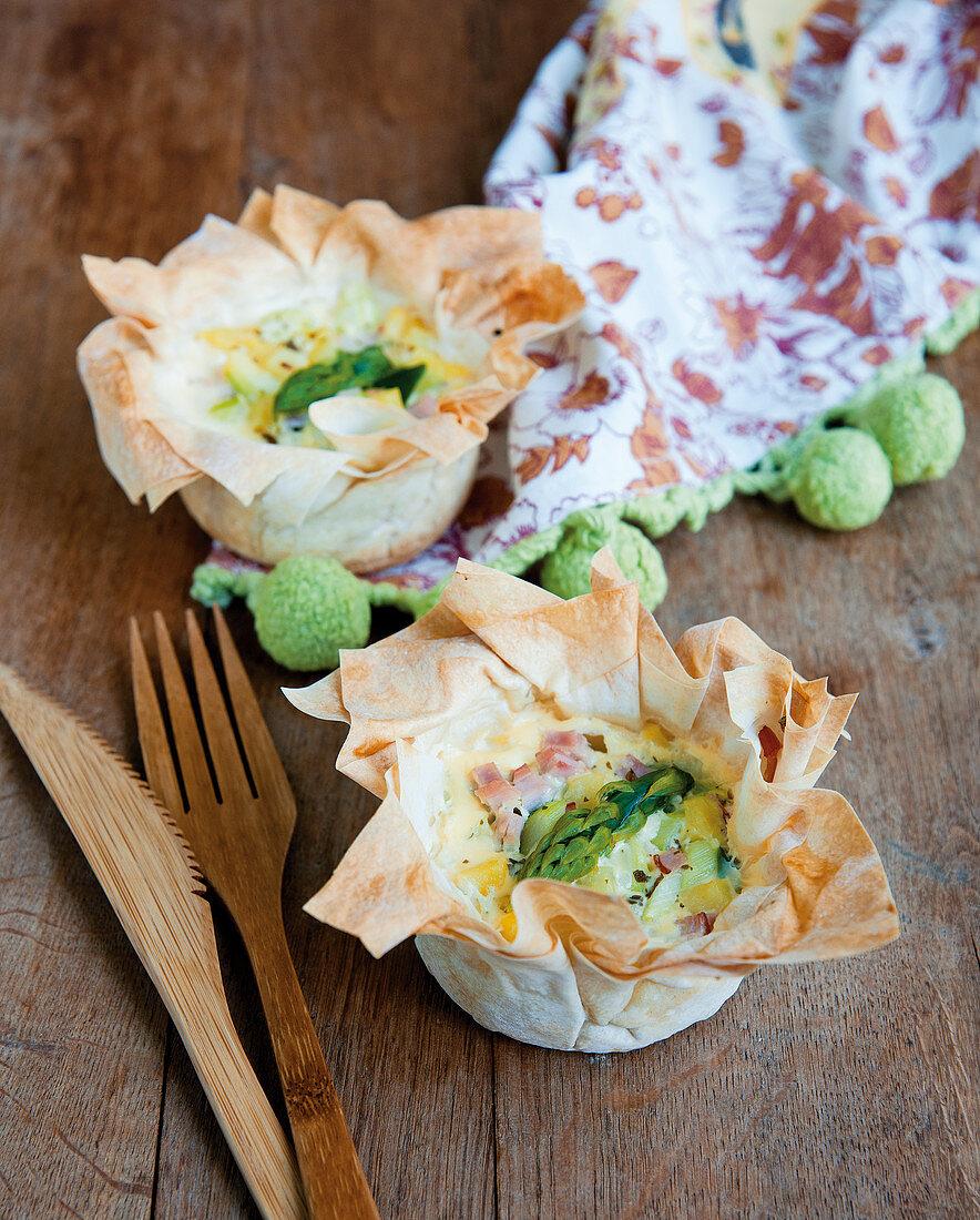 Asparagus and potato strudel tartlets