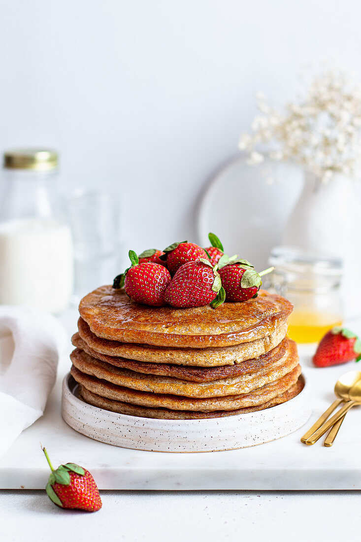 Apple pancakes with strawberries