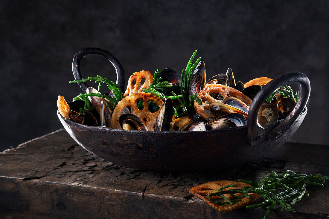 Mussels with samphire and lotus roots