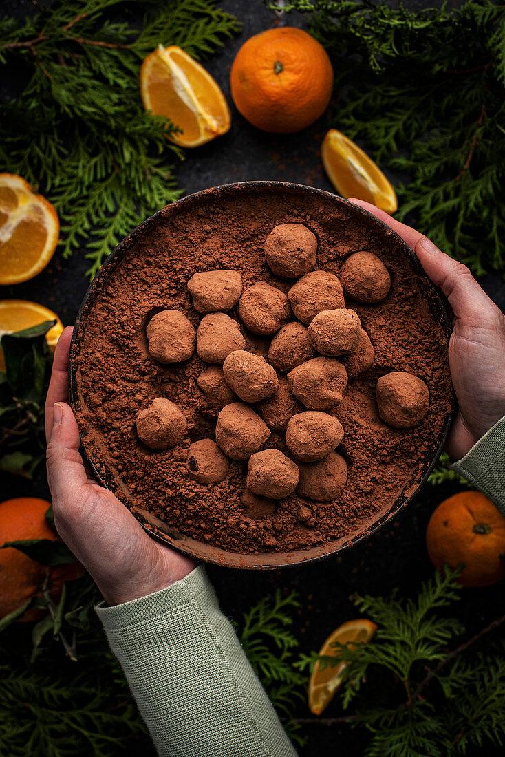 Vegan Chocolate Orange Truffles