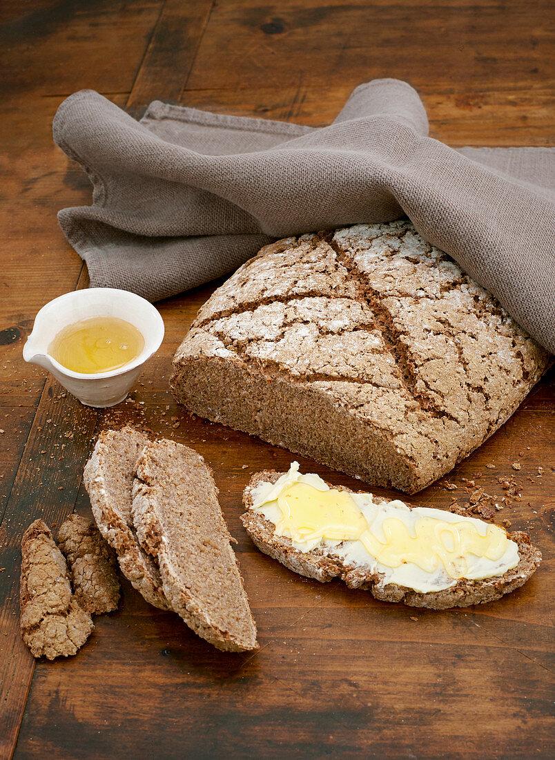 Rye sourdough bread with a crust
