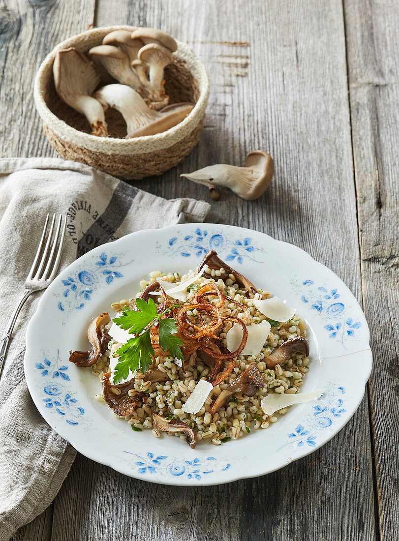 Barley groaths with oyster mushrooms