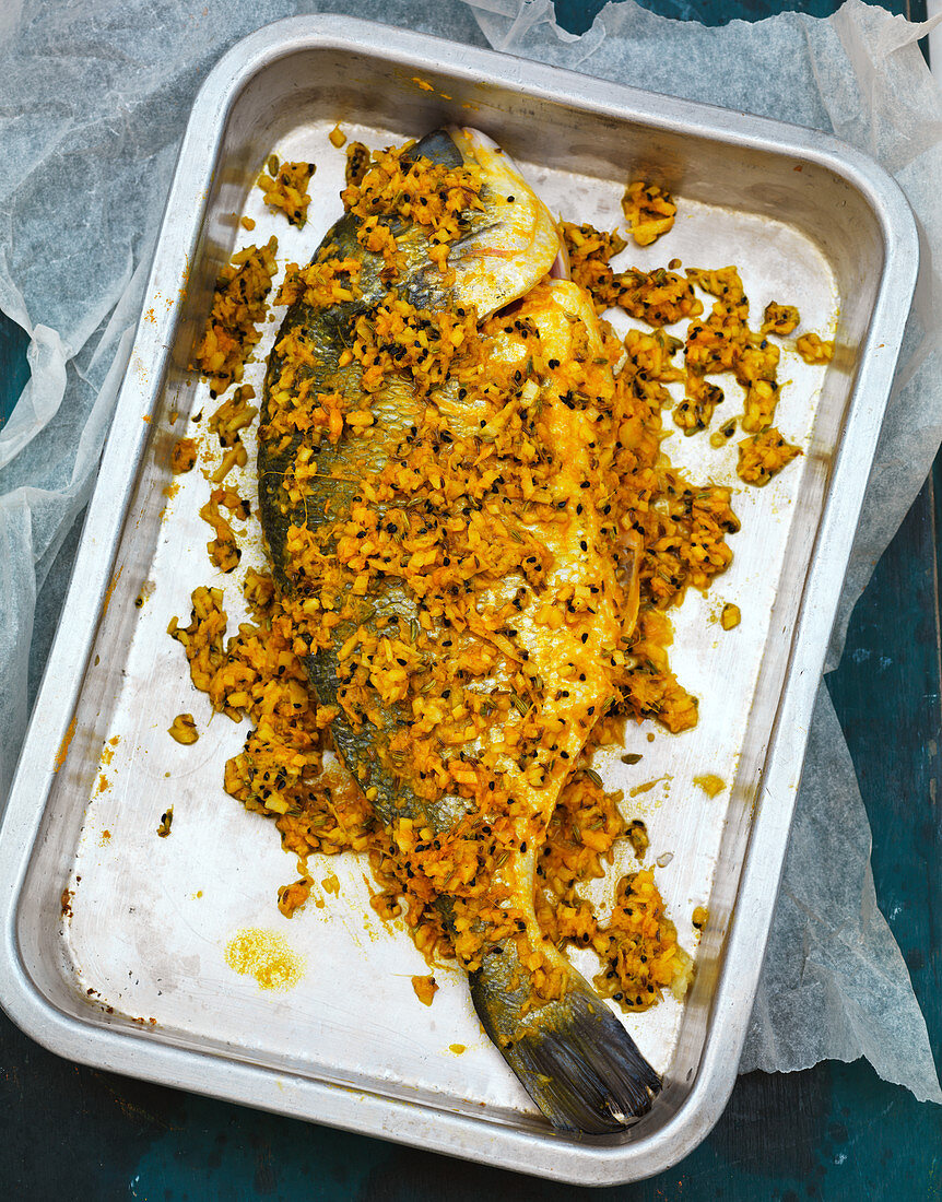 Indian roast, marinated sea bream