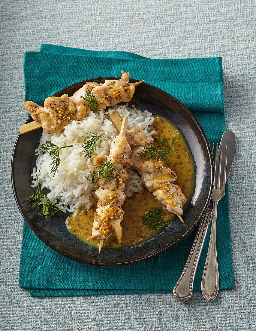 Mustard and honey chicken shashlik