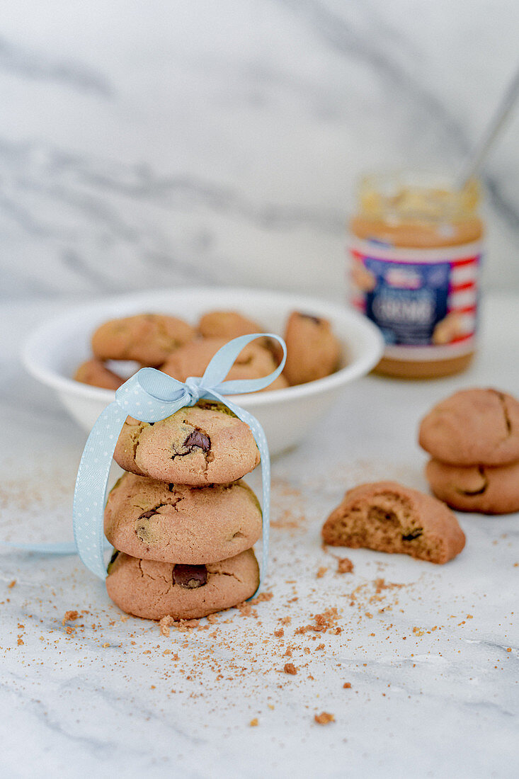 Peanut butter cookies with chocolate drops