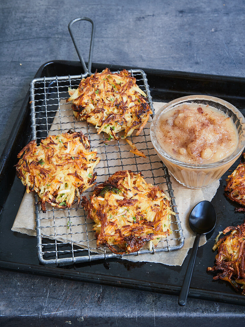 Parsnip and potato fritters with Jerusalem artichokes and pear sauce