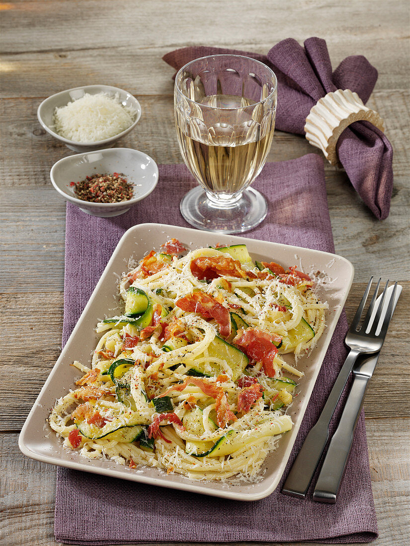 Light courgette carbonara with pancetta and Parmesan