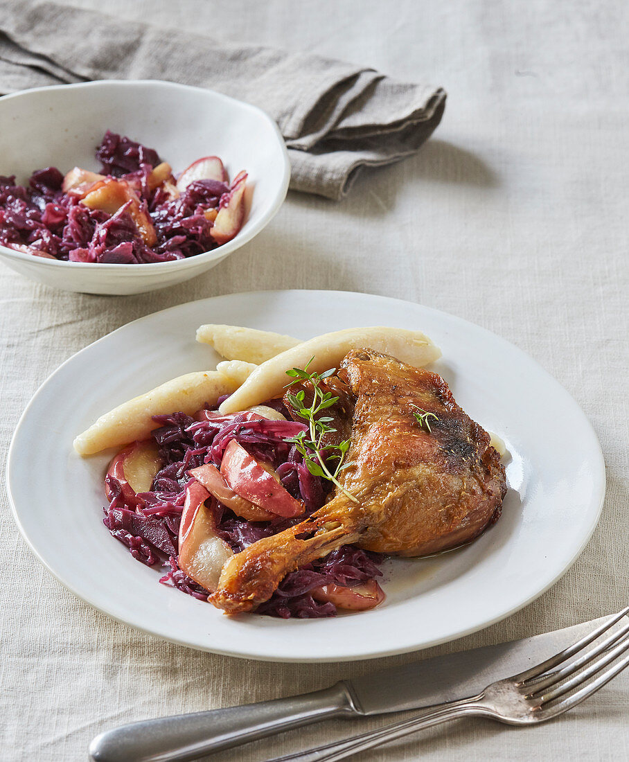 Duck legs and red cabbage with apple